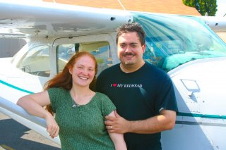 Little Red Hen (Theresa) and Hawk in Winter (Patrick) prior to Theresas first GA flight.